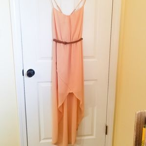 🍁ZARA Trafaluc Blush Hi-Low Belted Dress- NWOT